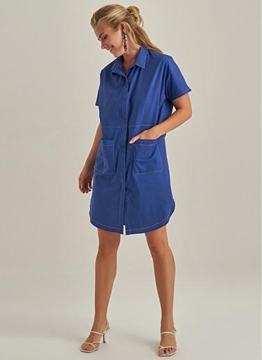 NGSTYLE Gömlek Elbise İndigo
